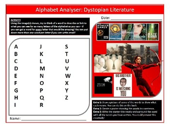 Dystopian Literature Alphabet Analyser Sheet Keywords Settler Starter Lesson