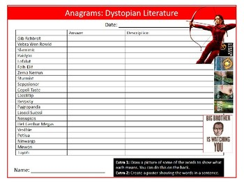 Dystopian Literature Anagrams Puzzle Sheet Keywords Settler Starter Cover Lesson