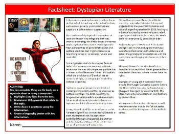 Dystopian Literature Factsheet Worksheet Keywords Settler Starter Cover Lesson