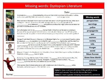 Dystopian Literature Missing Words Cloze Sheet Keywords Settler Starter Cover