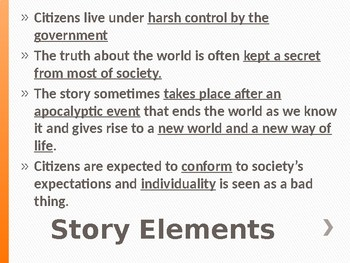 Dystopian Literature Notes PowerPoint - The Giver