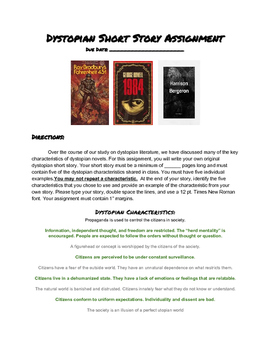 Dystopian Literature Short Story Assignment, Creative Writing Project
