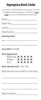 Dystopian Reading Bookmarks - GOODBYE Reading Logs!!!