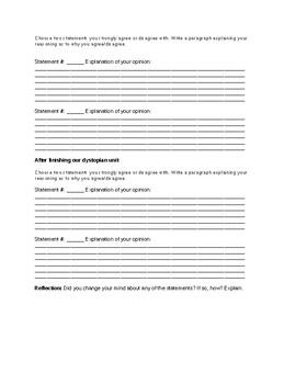 Dystopian unit book club anticipation guide or social studies dictatorship unit