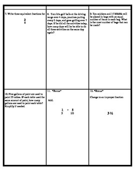 Multiples, Factors, Simplifying & Equivalent Fractions TEST