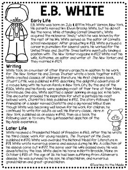 E.B. White Biography Reading Comprehension Worksheet, Charlotte's Web