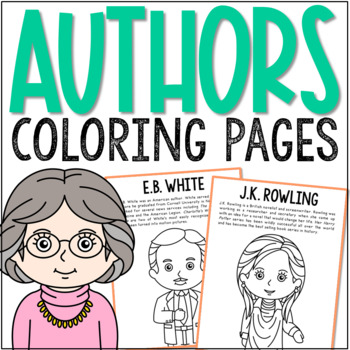 E.B. White, Famous Author Informational Text Coloring Page Craft, Library