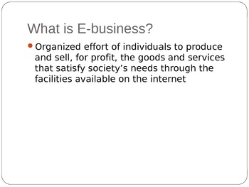 E-Business and Introduction to MIS