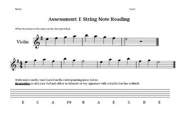 E & C String Note Reading Assessment