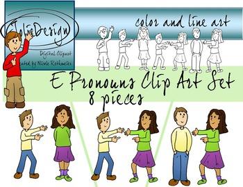 E Ending Pronoun Clip Art Set - Color and Line Art 8 pc set