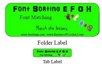 E F G H Font Sorting File Folder Reading Center Printable Activity - Preschool