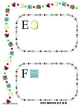 E F G H Font Sorting File Folder Reading Center Printable