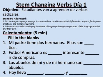 E--IE Stem Changing Verbs__Present Tense__Initial Presentation