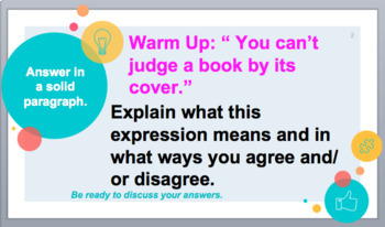 High School English - Students Design A Book Cover - Sub or Anytime Plan