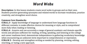 """High School English """"Word Builder"""" Great for introducing unit topics and themes!"""
