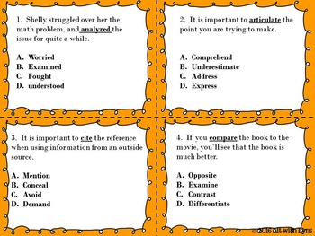 ELA Test Prep Task Cards- Sample