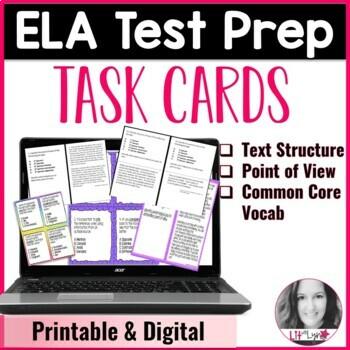 Digital ELA Test Prep Task Cards