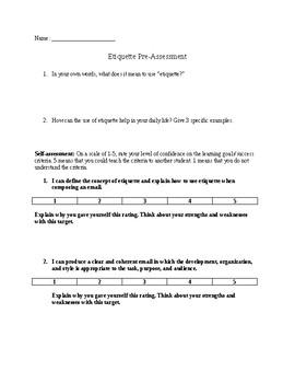 E-Mail Etiquette Pre-Assessment
