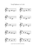 E-Minor Tonal Pattern Sheet