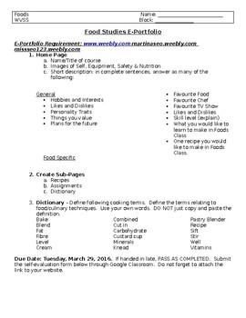 E-Portfolio for Foods/Cooking Class in Home Economics
