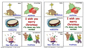 """E.S.L. -""""Christmas Vocabulary"""" in English & Spanish. Lottery (Board Game)."""
