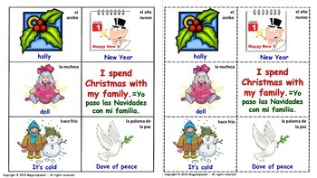 "E.S.L. -""Christmas Vocabulary"" in English & Spanish. Lottery (Board Game)."