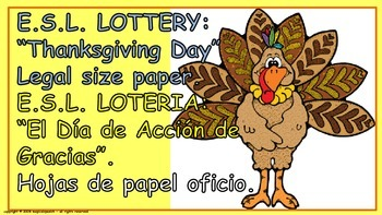 E.S.L. Thanksgiving Day. Lottery (Board Game in English and Spanish).