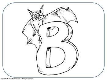 E.S.L. The English alphabet Flashcards to color. PDF Document.
