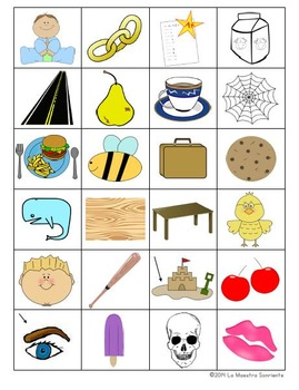 Read and Cover Game: Decoding E Syllables (Spanish)