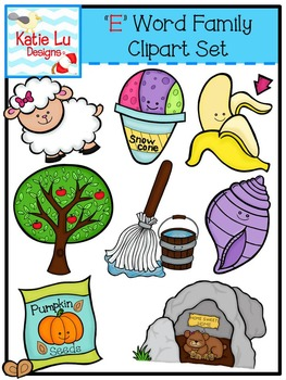 """E"" Word Family Clipart"