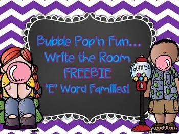 """""""E"""" Word Family Write the Room FREEBIE"""