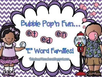 "Word Family ~ Letter ""E""...Bubble Pop'n Fun"