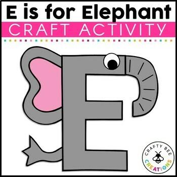 Letter E (Elephant) Cut and Paste