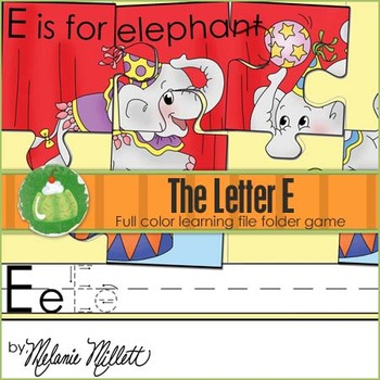 E is for Elephant File Folder Game