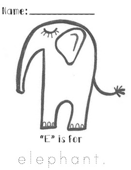 """""""E"""" is for elephant Tracing Sheet"""