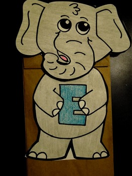 E is for elephant paper bag puppet