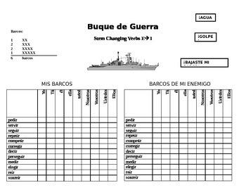 E to I Stem-Changing Verb Battleship