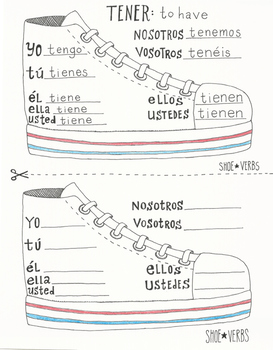 E to IE stem changing Spanish shoe verb chart boot verb worksheet TENER no prep