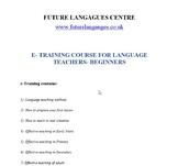 E-training Course for Language Teachers- Beginners