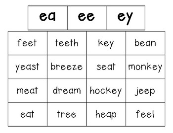 EA, EE and EY Vowel Team Sorting Center and Recording Sheet