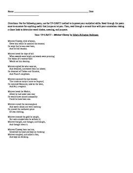 """EA Robinson: Poem """"Miniver Cheevy"""""""