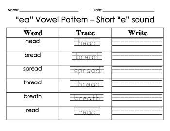 """""""EA"""" Vowel Pattern - Short E sound"""