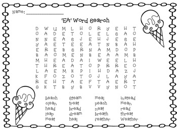'EA' Word Search