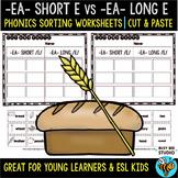 EA short /e/ vs EA long /e/ |  Cut and Paste Worksheets