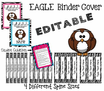 EAGLE Binder Cover, Student Guidelines & 4 Different Sized Spines - Zebra Themed