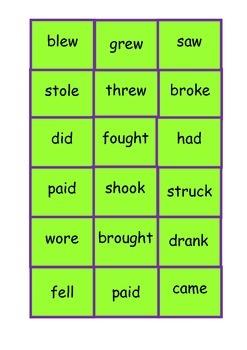 EAL/ ESL/ EFL/ ELD / ELL Irregular verbs present and past tense bingo