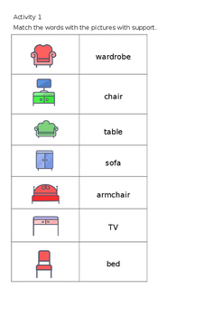 EAL Literacy Topic 14 - Furniture by Nadia Williams\'s shop | TpT