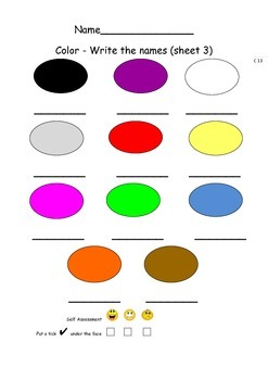 ELL Worksheets and Games for Initial Learners Color (American spelling)