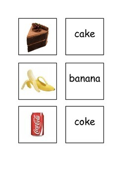 EAL/ESL/ELD/EFL Food and Drinks Vocabulary  cards for matching or playng snap.