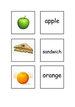 EAL/ESL/ELD/EFL Food and Drinks Vocabulary  cards for matc